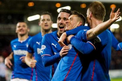 Fraser Aird celebrates his goal against Dunfermline Athletic in December as Rangers extended their league lead over the Pars