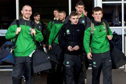 James Forrest, black top, arrives in Turkey with the rest of the Celtic squad yesterday