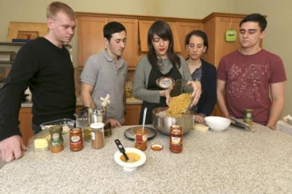 Paola tells the students how to make the most of ingredients