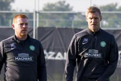 Neil Lennon and Johan Mjallby keep a close watch on their players as they prepare for tonight's clash with Trabzonspor