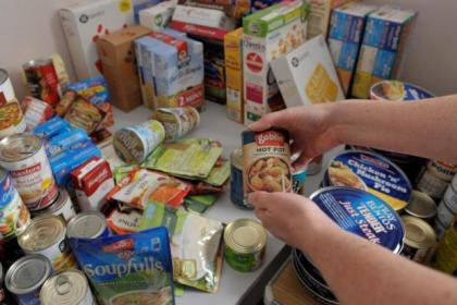 Food bank shelves are being kept supplied by donations