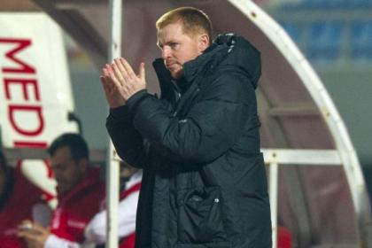 Neil Lennon salutes his players after a deserved 3-1 victory