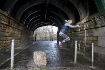 Glasgow Parkour Girls - Kate McWilliam, Holly Johnston and  Kel Glaister - go through their paces at Kelvinbridge