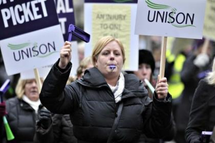 Care workers protested outside the City Chambers