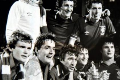 Ian Redford (bottom left), celebrates 1981 Scottish Cup win with Sandy Jardine, Ally Dawson, Derek Johnstone, Jim Bett and Colin McAdam, who died last year aged 62