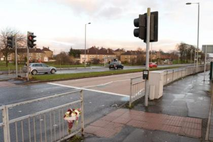 Floral tributes were left near Silverburn Shopping Centre where two women were hit                                Pictures: Nick Ponty