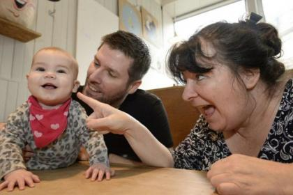 Janey Godley with comic Mark Nelson and his baby girl Isla