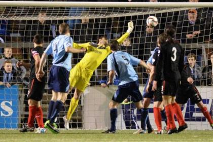 Steve Simonsen produced a fantastic reaction save against Forfar on Monday night