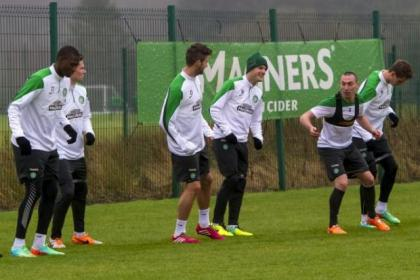 Laughing Bhoys...Celtic players find time for a joke during training at Lennoxtown yesterday