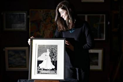 Natasha Raskin of McTears with Hannah Frank's painting. Picture: Jamie Simpson