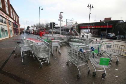 The trollies outside the supermarket have been branded a safety hazard