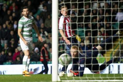 Joe Ledley gets the ball rolling last night as he puts the ball beyond Kilmarnock goalkeeper Craig Samson early on