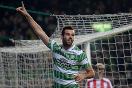 Joe Ledley celebrates after scoring Celtic's opening goal