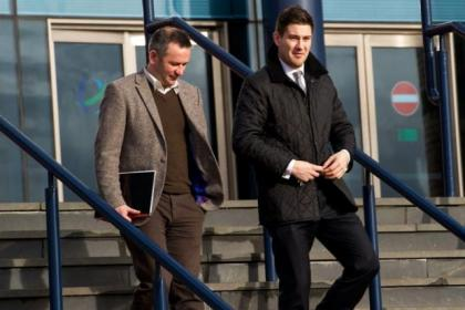 John Gemmell (right) leaves his disciplinary hearing at Hampden with PFA Scotland rep Stuart Lovell