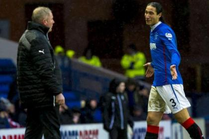 Bilel Mohsni speaks with boss Ally McCoist after his sending off against Brechin City on Saturday