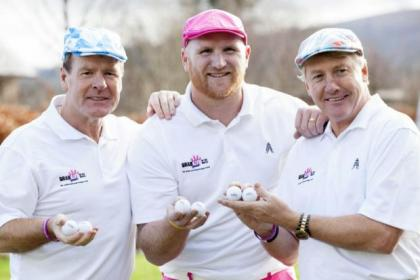 John Hartson is flanked by fellow-Celtic legends Murdo MacLeod and Frank McAvennie at the launch of his Foundation Celebrity Golf Day