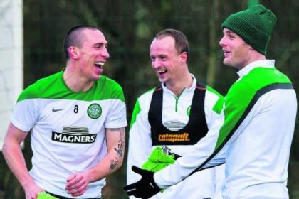 Laughing Bhoys Scott Brown, Leigh Griffiths and Anthony Stokes are prepared for today's Scottish Cup clash with Aberdeen