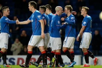 David Templeton is congratulated by Nicky Law after putting Rangers 3-0 ahead before half-time against Dunfermline