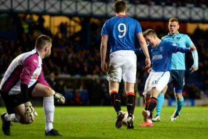 Dean Shiels rammed home a hat-trick for Gers as they reached the Scottish Cup last eight
