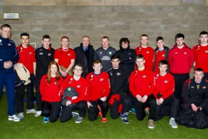 Davie Hay and Neil Lennon, centre,  with students from Galway Technical Institute on week work experience with New College Lanarkshire