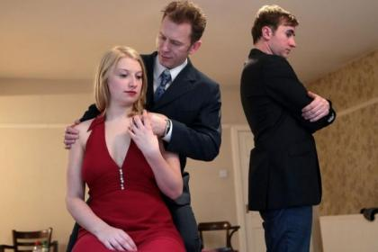Kirsty McDuff, seen right with Bill Wright and Ewan Donald in the play Wake  In In the Morning. Her character is loosely based on famous film star Marilyn Monroe, above