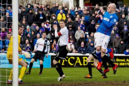 Nicky Law turns the ball in for Rangers' first against Ayr