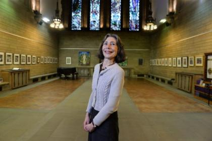 Diane Pacitti at the exhibition at Glasgow University Chapel. Pictures: Nick Ponty