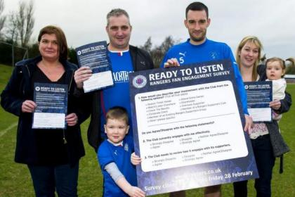 Lee Wallace was joined by Rangers season ticket holders Fiona Justice, Jim Burt and Laura Baillie, along with young fans Campbell Justice (aged 4) and Chloe Burt (aged 1) at the launch of the 'Ready to Listen' campaign ahead of Stenny clash