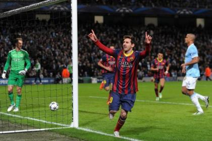 Lionel Messi opened scoring in Barca's 2-0 win over Man City