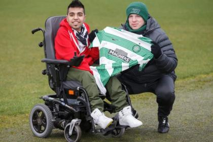 Neil Lennon welcomed 21-year-old Sohail Rehman, the first wheelchair-bound, fully qualified football coach in the world, to Lennoxtown yesterday. Picture: Steve Welsh