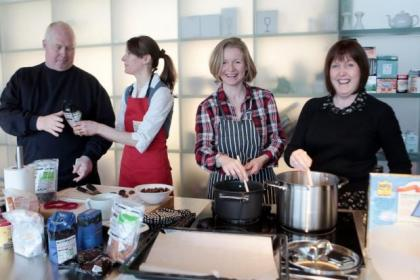 Cancer sufferer Miles Webb with dietitian Kirsty Carrie, and Maggie's volunteer Vicky Gibbons and Gloria Grossman prepare to cook up quick and tasty meal for chemotherapy patients          Picture: Mark Mainz