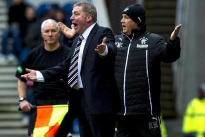 Ally McCoist and assistant Kenny McDowall show their frustration during Rangers' 3-3 draw with Stenhousemuir at Ibrox on Saturday