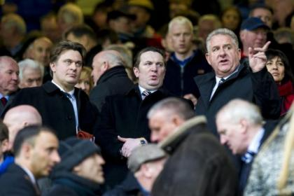 James Easdale, left, and Sandy Easdale take their places in the stand alongside chief executive Graham Wallace