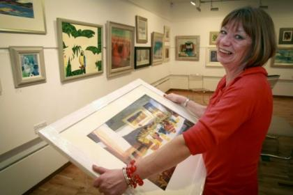 Artist Hazel Nagl at the exhibition in the Kelly Gallery Picture: Phil Rider