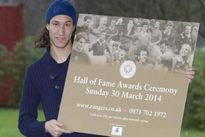 Rangers defender Bilel Mohsni promotes the club's Hall of Fame Awards ceremony at Murray Park yesterday