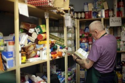 Storeman Bert Costello at Glasgow North East Food Bank Centre in Calton Parkhead Parish Church
