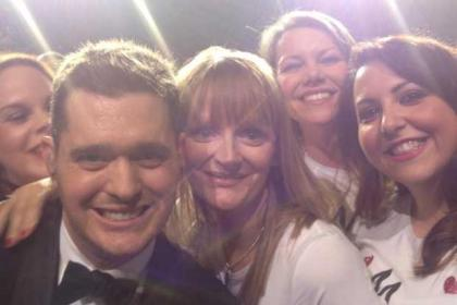 Michael Buble with Andrea Keenan, Fiona Barr, Sofia Crolla and Lynn Kelly