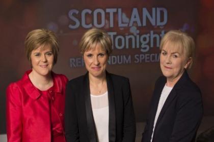 STV's Rona Dougall, centre, with Nicola Sturgeon and Johann Lamont