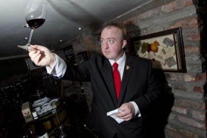 One Devonshire's head sommelier Alan Brady in the wine cellar. Picture: Mark Gibson