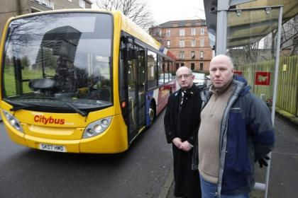 Malcolm Balfour, left, councillor for Drumchapel/Anniesland, and Kenny McLean, councillor for Partick West, voiced their opposition  to the cuts  to  the bus route in Thornwood          Picture:             Colin       Templeton