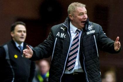 Ally McCoist urges his side on during Rangers' Scottish Cup 1-1 draw with Albion Rovers at Ibrox on Sunday