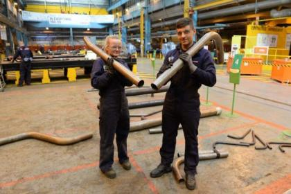 Chloe Kirk, 20, and Taylor Thompson, 17, are apprentice pipe fitters at BAE Systems in Scotstoun         Picture: Nick Ponty