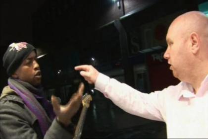 The BBC TV footage that showed the racist attack by  Francis Muir on busker Melo in Sauchiehall Street. Muir was arrested, below right, and was later jailed for a total of 10 months
