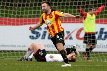 Conrad Balatoni scores against Aberdeen at Firhill, Thistle's first home win of the season