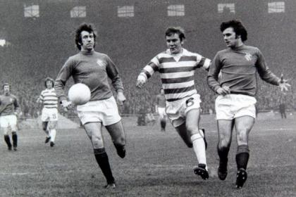 Derek Johnstone (right) and his Rangers mates pipped Celtic to title in season 1975-76