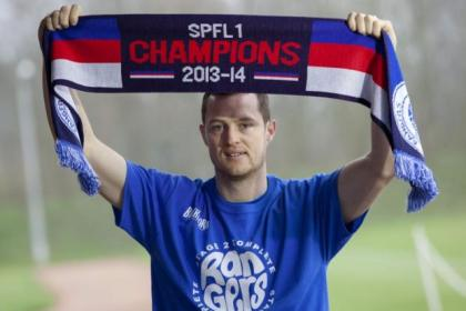 Jon Daly helped to promote a new range of 2013/14 Champions' merchandise which is available to buy at Rangers outlets and online at www.rangers.co.uk or www.rangersmegastore.com