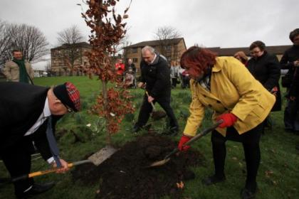 TAG members James Rankin, Caroline Kay and William Robertson planted the tree on Glasgow Green