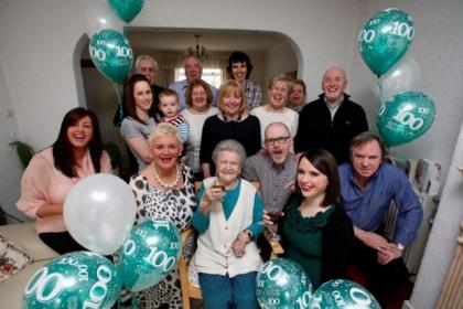 Patricia celebrates her big day at home with family and friends Picture:  Martin Shields