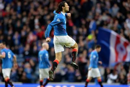 Bilel Mohsni celebrates pulling Rangers level against Albion Rovers