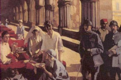 'The Scottish Women's Hospital' painting by Norah Neilson Gray (1882-1931). Norah was one of the staff of the Scottish Women's Hospitals for Foreign Service, 1914-1919 and is also one of the group of artists known as the Glasgow Girls. The picture is now in the Imperial War Museum, London